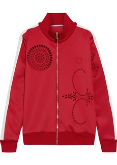 Stella Mccartney Woman Grosgrain-trimmed Broderie Anglaise Jersey Track Jacket Red