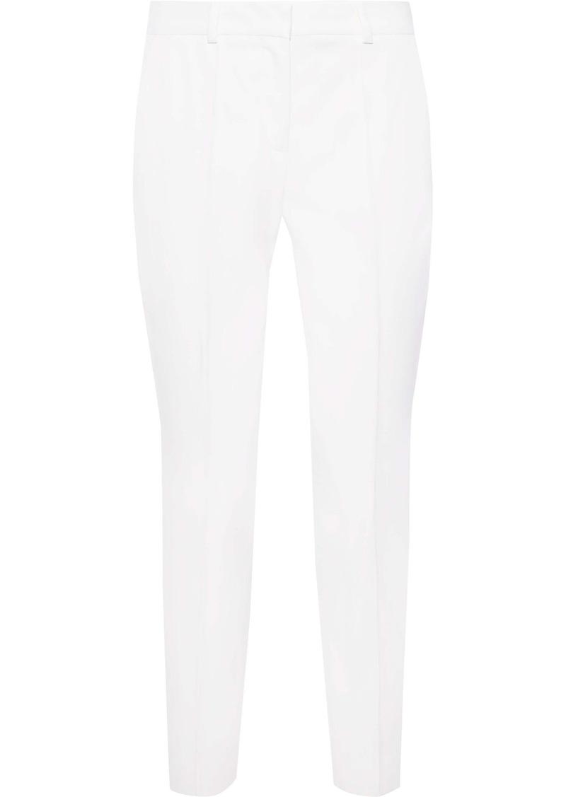 Stella Mccartney Woman Grosgrain-trimmed Wool Tapered Pants Ivory