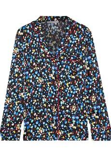 Stella Mccartney Woman Hailey Huddling Printed Silk-blend Satin Pajama Top Black