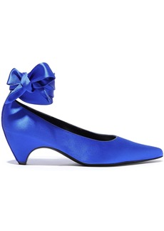 Stella Mccartney Woman Hemy Bow-detailed Satin Pumps Cobalt Blue