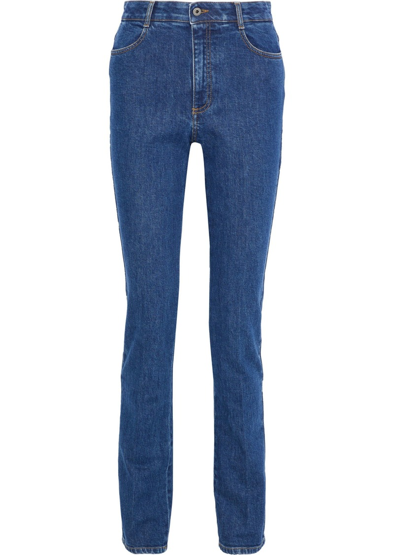 Stella Mccartney Woman High-rise Slim-leg Jeans Mid Denim