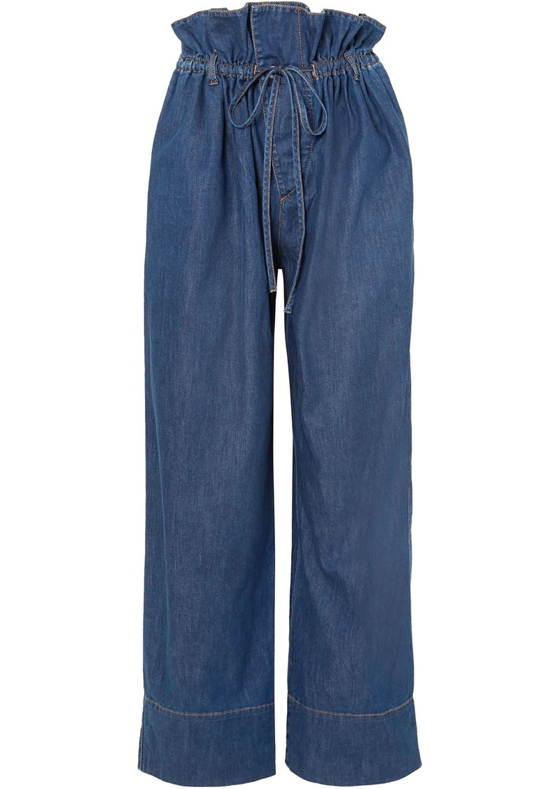 Stella Mccartney Woman High-rise Wide-leg Jeans Mid Denim