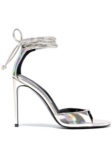 Stella Mccartney Woman Iridescent Faux Leather Sandals Platinum