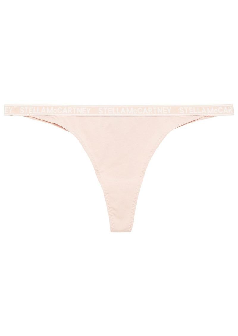 Stella Mccartney Woman Ivy Chatting Stretch-cotton Jersey Mid-rise Thong Pastel Pink