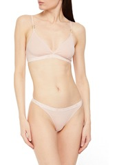 Stella Mccartney Woman Ivy Chatting Stretch-cotton Jersey Soft-cup Triangle Bra Black