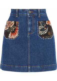 Stella Mccartney Woman Jacquard-paneled Studded Denim Mini Skirt Mid Denim