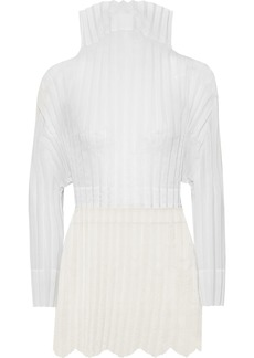 Stella Mccartney Woman Jacqueline Embroidered Plissé Cotton-blend Voile And Tulle Top Off-white