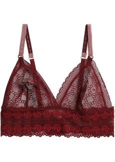 Stella Mccartney Woman Jasmine Inspiring Stretch-lace Soft-cup Triangle Bra Claret