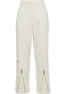 Stella Mccartney Woman Jaylyn Herringbone Cotton-blend Straight-leg Pants Ivory