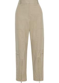 Stella Mccartney Woman Jaylyn Herringbone Cotton-blend Straight-leg Pants Sage Green