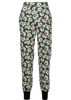 Stella Mccartney Woman Julia Floral-print Stretch-cady Tapered Pants Forest Green