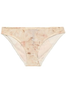 Stella Mccartney Woman Juliet Skipping Floral-print Tulle Mid-rise Briefs Beige