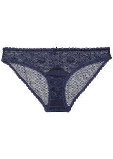 Stella Mccartney Woman Katie Kissing Stretch-lace Mid-rise Briefs Navy