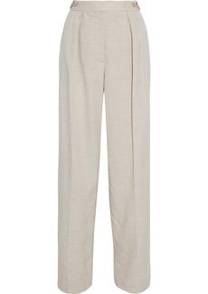 Stella Mccartney Woman Katlyn Pleated Canvas Wide-leg Pants Ecru
