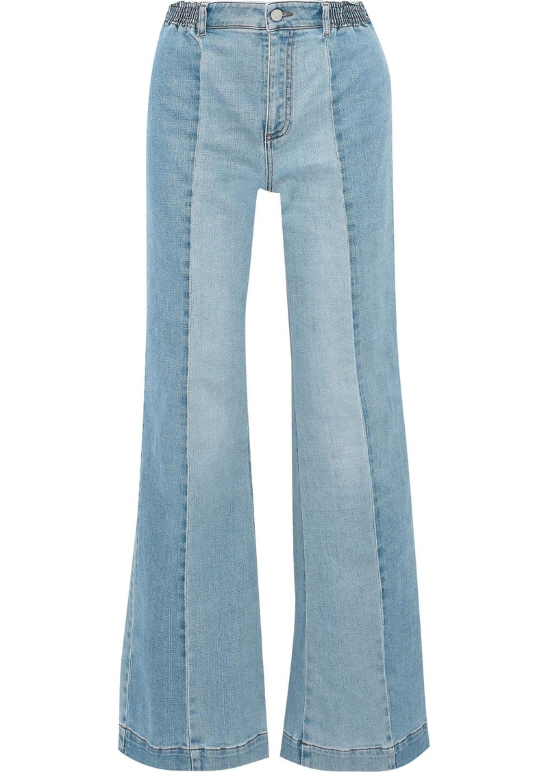 Stella Mccartney Woman Kendal Paneled High-rise Flared Jeans Light Denim