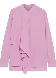 Stella Mccartney Woman Kiera Draped Silk Crepe De Chine Shirt Pink