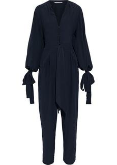 Stella Mccartney Woman Kiera Tie-detailed Silk Crepe De Chine Jumpsuit Midnight Blue