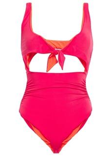 Stella Mccartney Woman Knotted Cutout Swimsuit Coral