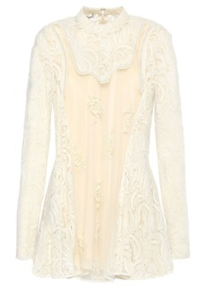 Stella Mccartney Woman Lace-paneled Embellished Wool-blend Tulle Top Ivory