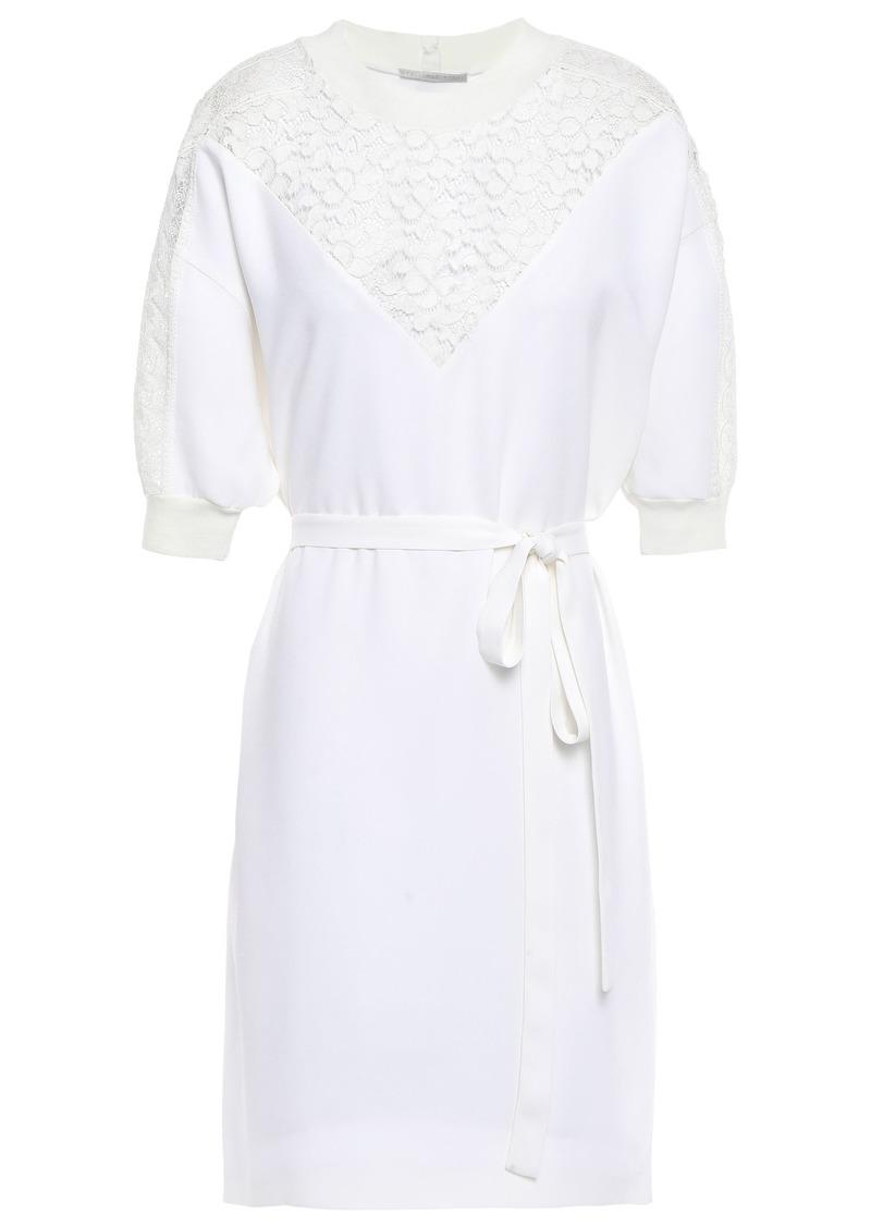 Stella Mccartney Woman Lace-paneled Stretch-crepe Mini Dress White
