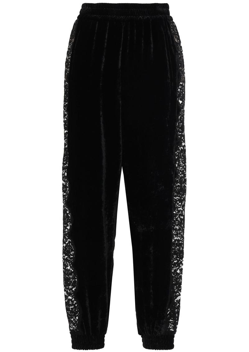 Stella Mccartney Woman Lace-paneled Velvet Track Pants Black