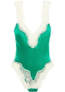 Stella Mccartney Woman Lace-trimmed Stretch-silk Satin Bodysuit Green