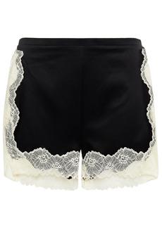 Stella Mccartney Woman Lace-trimmed Stretch-silk Satin Pajama Shorts Black