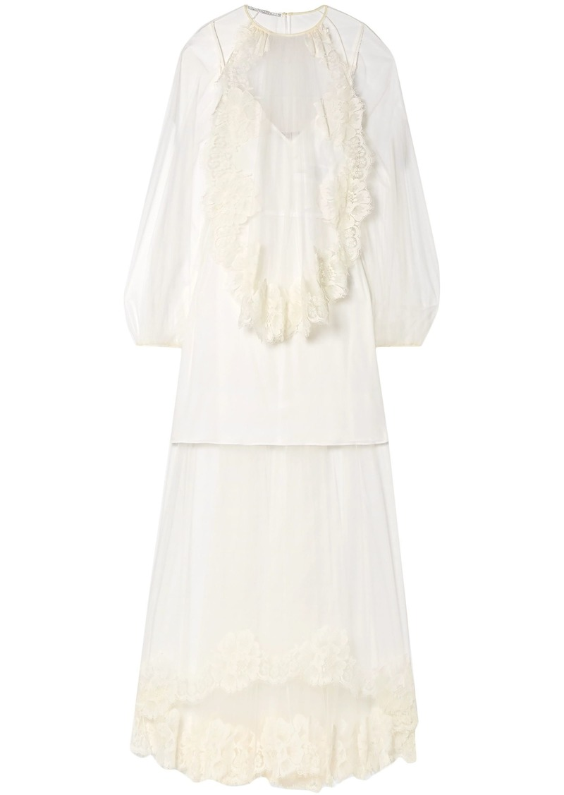 Stella Mccartney Woman Layered Lace-trimmed Tulle Gown Ivory