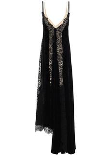 Stella Mccartney Woman Lace-trimmed Velvet Maxi Slip Dress Black