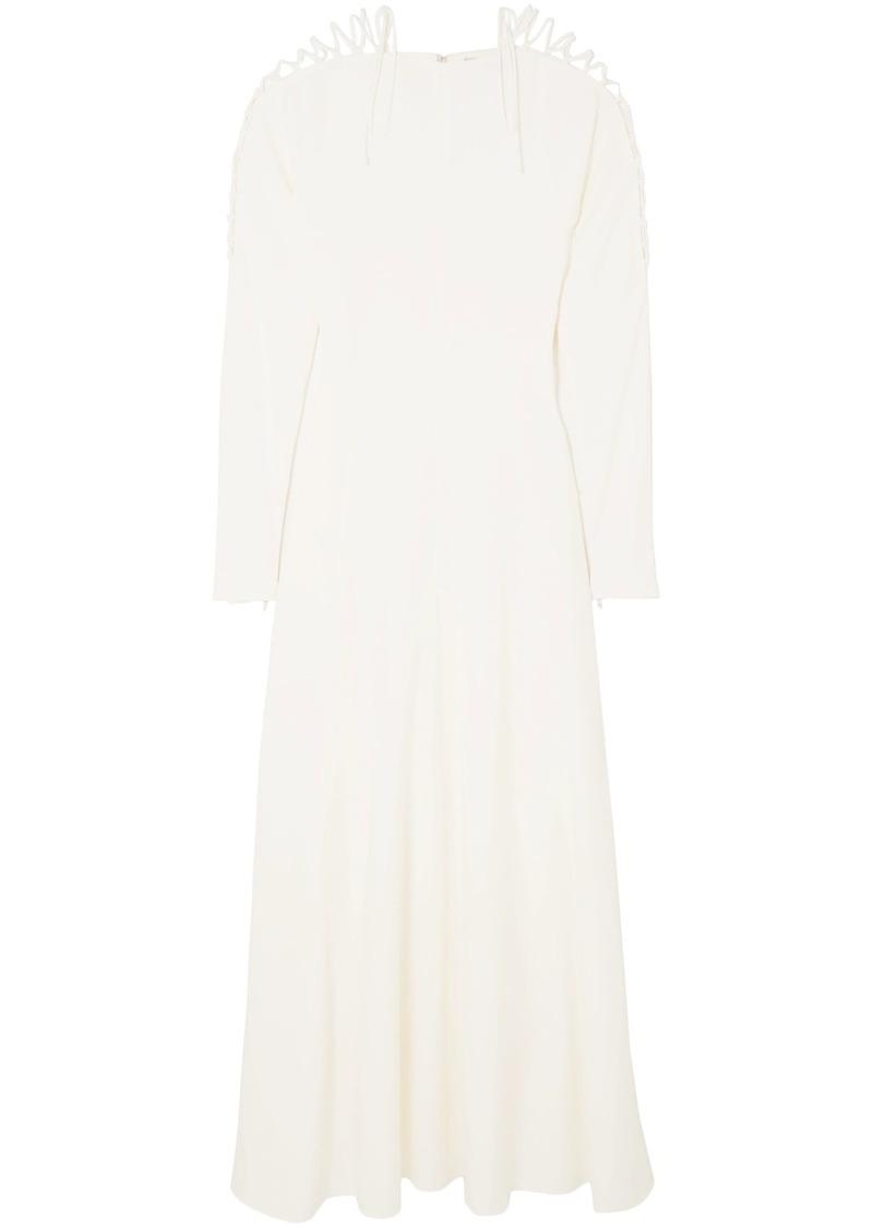 Stella Mccartney Woman Lace-up Cady Maxi Dress Ivory