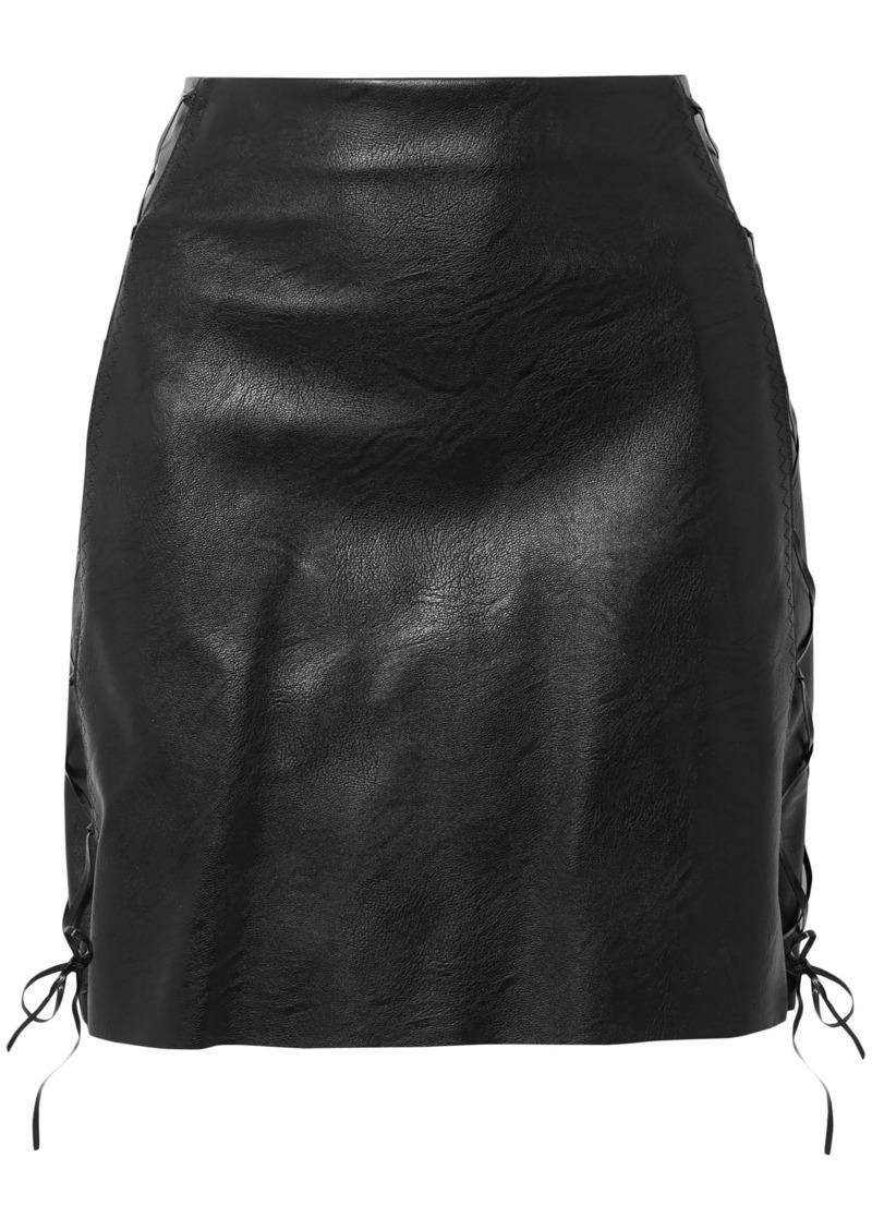 Stella Mccartney Woman Lace-up Faux Leather Mini Skirt Black
