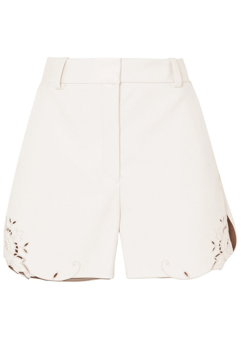 Stella Mccartney Woman Laser-cut Faux Leather Shorts White