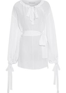 Stella Mccartney Woman Latrobe Belted Bow-detailed Silk Crepe De Chine Top White