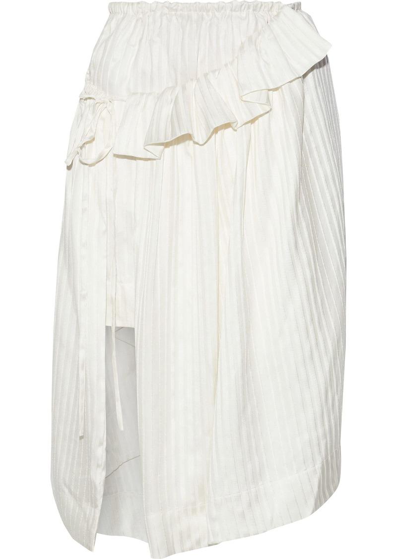 Stella Mccartney Woman Layered Striped Silk-satin Skirt Ecru