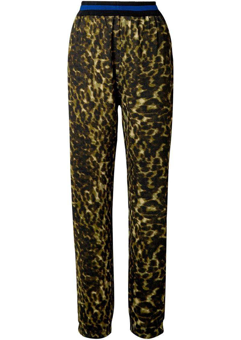 Stella Mccartney Woman Leopard-print Jersey Track Pants Army Green