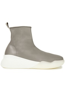 Stella Mccartney Woman Loop Faux Leather High-top Sneakers Gray