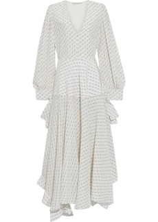 Stella Mccartney Woman Marley Asymmetric Printed Silk Crepe De Chine Dress Ecru