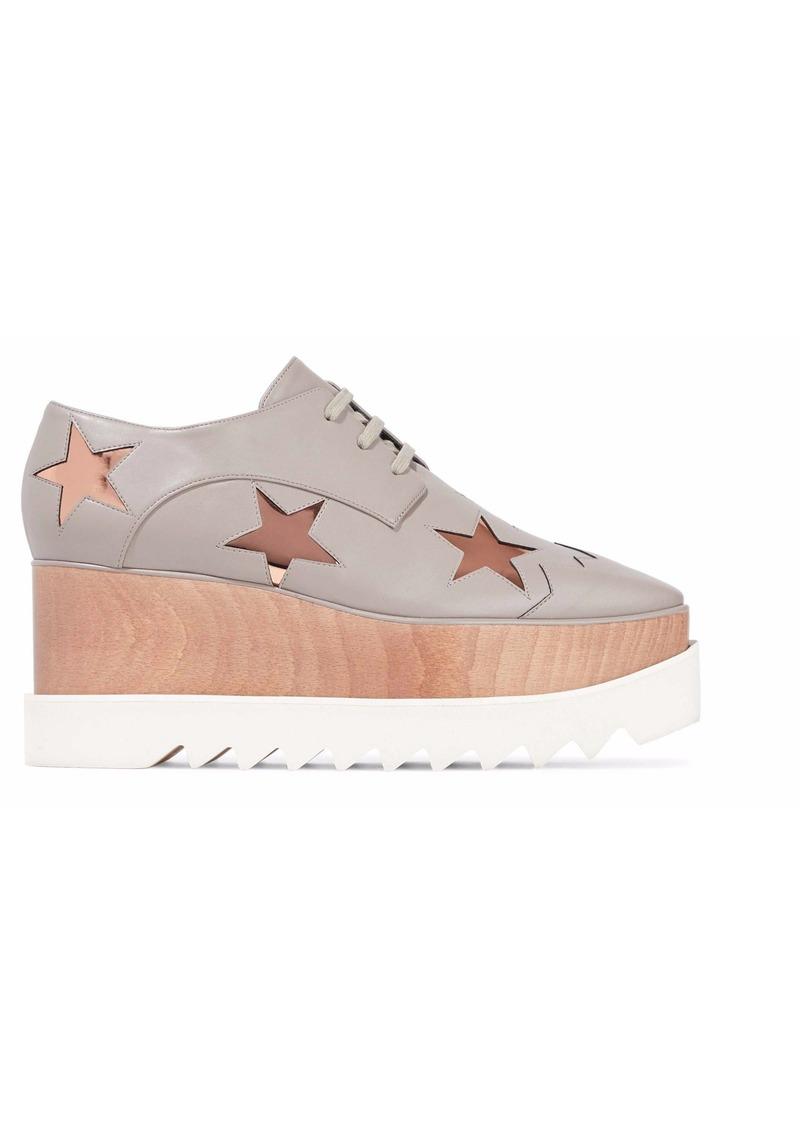 Stella Mccartney Woman Metallic Appliquéd Faux Leather Platform Sneakers Light Gray