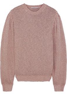 Stella Mccartney Woman Metallic Open-knit Sweater Antique Rose