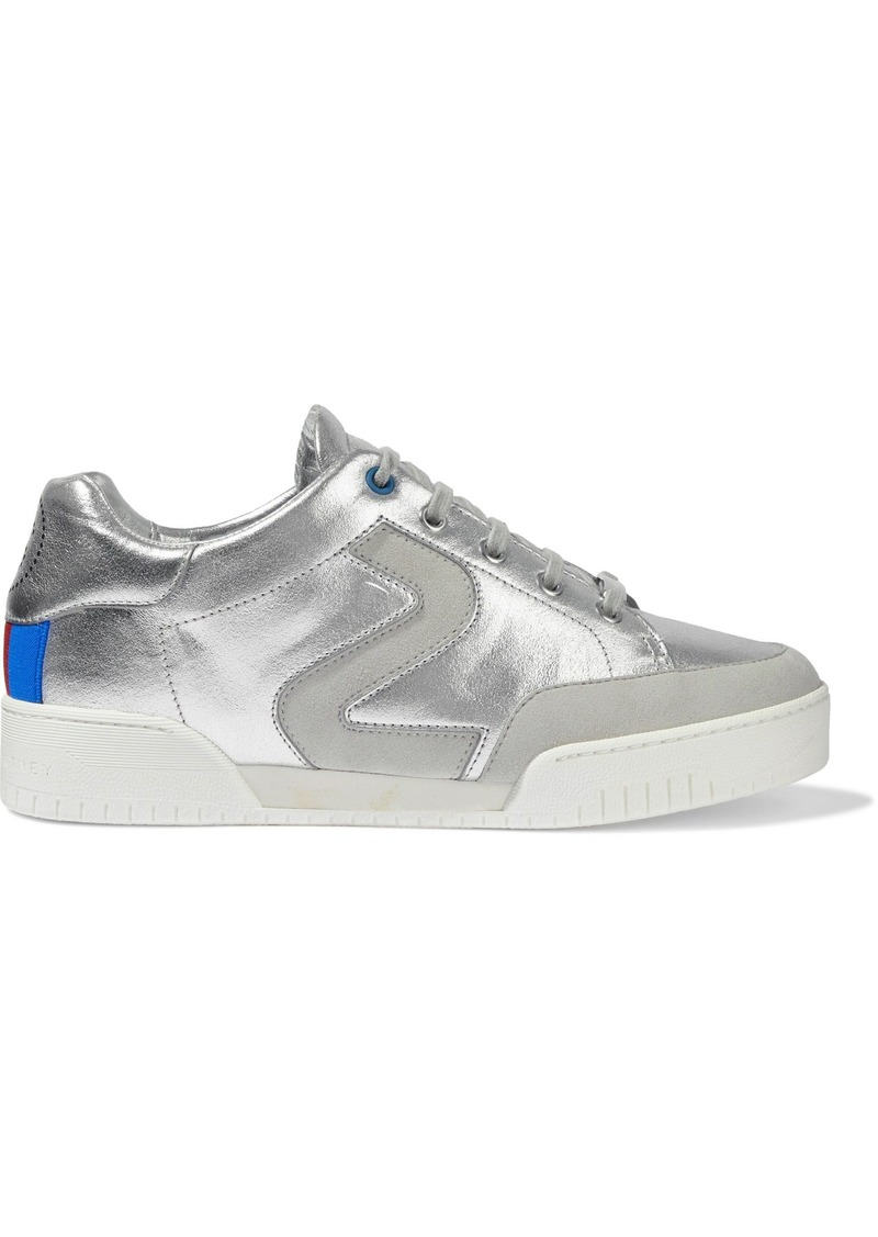 Stella Mccartney Woman Metallic Perforated Faux Suede And Leather Sneakers Silver