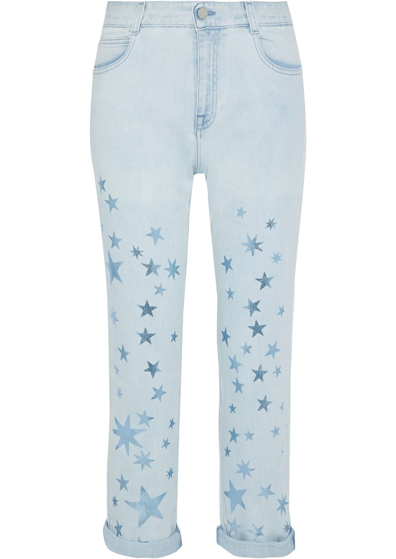Stella Mccartney Woman Metallic Printed Mid-rise Straight-leg Jeans Light Denim