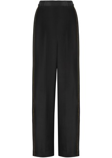 Stella Mccartney Woman Metallic-trimmed Silk Crepe De Chine Wide-leg Pants Black