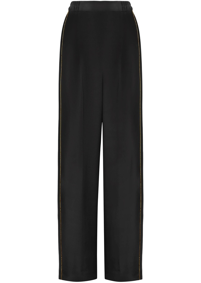 Stella Mccartney Woman Metallic-trimmed Silk Crepe De Chine Wide-leg Pants Black