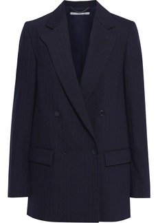 Stella Mccartney Woman Milly Double-breasted Pinstriped Wool-blend Blazer Midnight Blue