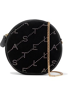 Stella Mccartney Woman Monogram Mini Crystal-embellished Velvet Shoulder Bag Black