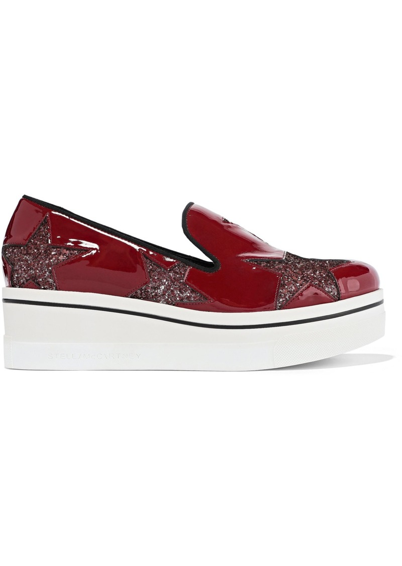 Stella Mccartney Woman Star Binx Glittered Faux Patent-leather Platform Slip-on Sneakers Claret