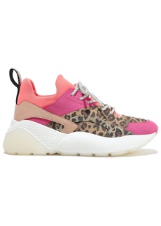 Stella Mccartney Woman Neon Neoprene-paneled Leopard-print Faux Suede Sneakers Multicolor