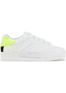 Stella Mccartney Woman Neon-trimmed Laser-cut Faux Leather Sneakers Bright Yellow