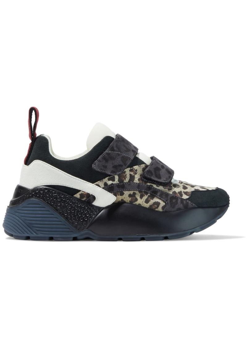 Stella Mccartney Woman Neoprene-paneled Leopard-print Faux Suede Sneakers Black