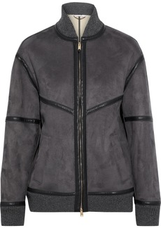 Stella Mccartney Woman Nola Faux Leather And Suede Bomber Jacket Anthracite